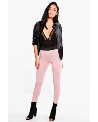 Boohoo | Pink Evah Basic Contrast Waist Band Jersey Leggings | Lyst
