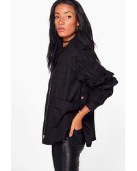 Boohoo Black Erin Gathered Sleeve Popper Side Jacket