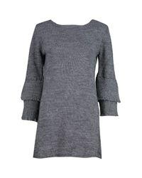 Boohoo Gray Natasha Frill Sleeve Jumper Dress