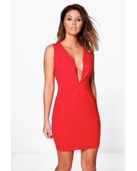 Boohoo Red Lucy Pleat Detail Bodycon Dress