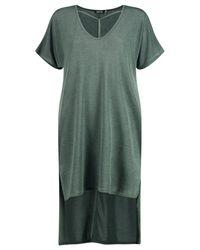 Boohoo Green Veronique Strap Detail Dip Hem Dress