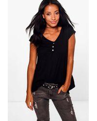 Boohoo Black Laura Button Cotton T-shirt