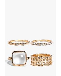 Boohoo - Metallic Grace Mixed Stone Detail 4 Ring Pack - Lyst