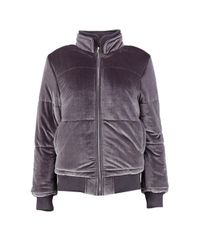 Boohoo Gray Niamh Velvet Padded Jacket