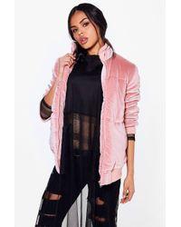 Boohoo Pink Niamh Velvet Padded Jacket