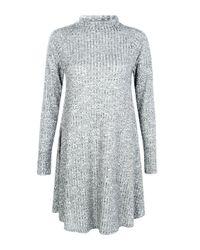 Boohoo Gray Brooke Rib Knit Swing Dress