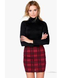 Boohoo Red Gianna Berry Check Strech Mini Skirt