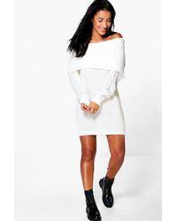 Boohoo White Zoey Bardot Mini Knitted Dress