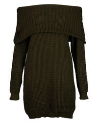 Boohoo Multicolor Zoey Bardot Mini Knitted Dress
