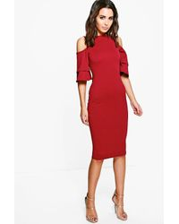 Boohoo | Red Leah Cold Shoulder Flute Sleeve Midi Dress | Lyst