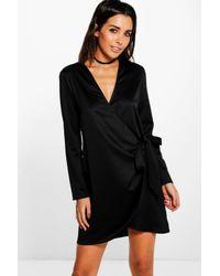 Boohoo Black Betheny Satin Tie Side Shirt Dress