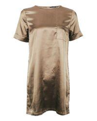 Boohoo   Natural Genevieve Satin Pocket Shift Dress   Lyst