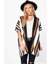 Boohoo Multicolor Olivia Blanket Stripe Cape Cardigan
