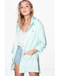 Boohoo Blue Bethany Mac With Detachable Hood