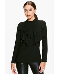 Boohoo | Black Faith Ruffle High Neck Blouse | Lyst