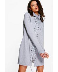 Boohoo Gray Dulce High Neck Lace Up Detail Sweat Dress