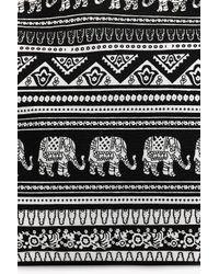 Boohoo Black Willow Elephant Print Beach Bag