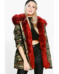 Boohoo Phoebe Camo Faux Fur Lined Parka in Red | Lyst