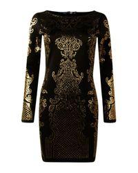 Boohoo Black Jossa Embellished Pattern Bodycon Dress