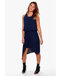 Boohoo Blue Beryl Woven Wrap Detail Rouched Midi Dress