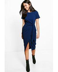 Boohoo Blue Lottie Tie Front Tailored Scuba Midi Dress