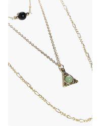 Boohoo Metallic Nina Layered Double Pendant Necklace