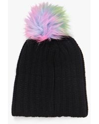 Boohoo Black Elena Mermaid Faux Fur Pom Beanie Hat
