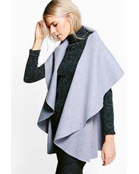 Boohoo Gray Nicole Waterfall Sleeveless Coat