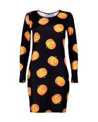 Boohoo Black Halloween Reema Pumpkin Bodycon Dress