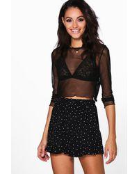Boohoo | Black Mia Woven Polka Dot Flippy Shorts | Lyst