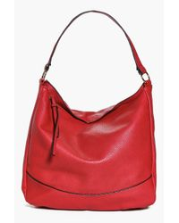 Boohoo - Red Lucy Knot Detail Strap Day Bag - Lyst