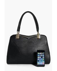 Boohoo Black Sophie Metal Detail Day Bag