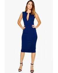 Boohoo Blue Maisie Structured V-neck Midi Dress