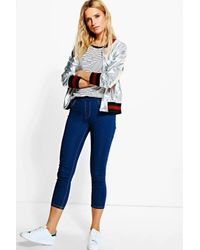 Boohoo - Blue Ankle Grazer Jeggings - Lyst