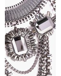 Boohoo - Black Mya Embellished Chain Statement Necklace - Lyst