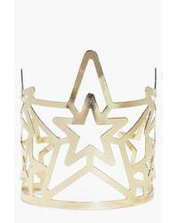 Boohoo - Metallic Ivy Star Detail Open Cuff - Lyst
