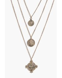 Boohoo | Metallic Zoe Coin And Embellished Layered Necklace | Lyst
