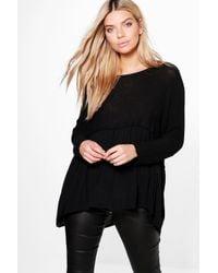 Boohoo - Black Maddison Oversized Frill Bottom Knitted Jumper - Lyst