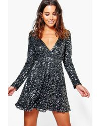 Boohoo | Black Boutique Sara Sequin Wrap Skater Dress | Lyst