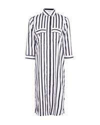 Boohoo Multicolor Krya Monochrome Stripe Midi Shirt Dress