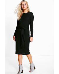 Boohoo Black Antoinette Tie Front Rib Midi Dress