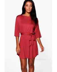 Boohoo Red Camille Flare Sleeve Tie Waist Shift Dress