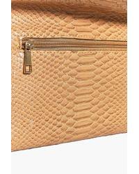 Boohoo Multicolor Lara Snake Effect Fold Over Clutch Bag