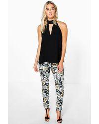 Boohoo Black Adana Dark Floral Skinny Trousers