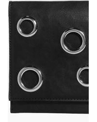 Boohoo Black Tilly Eyelet Detail Fold Over Clutch Bag