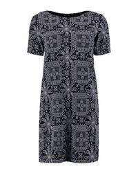 Boohoo - Black Amie Paisley 3/4 Sleeve Shift Dress - Lyst