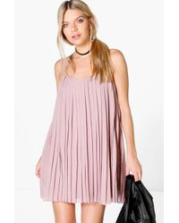 Boohoo Blue Lucy Strappy Pleated Swing Dress
