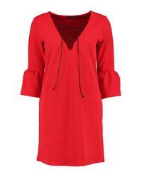 Boohoo Multicolor Laura Flute Sleeve Lace Up Shift Dress