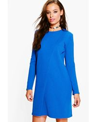Boohoo - Blue Jenny Long Sleeve Wrap Over Shift Dress - Lyst