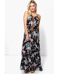 Boohoo Black Julia Floral Printed Maxi Dress